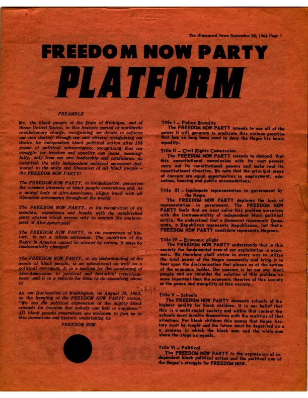 Publication, Illustrated News, Freedom Now Party platform, 1964