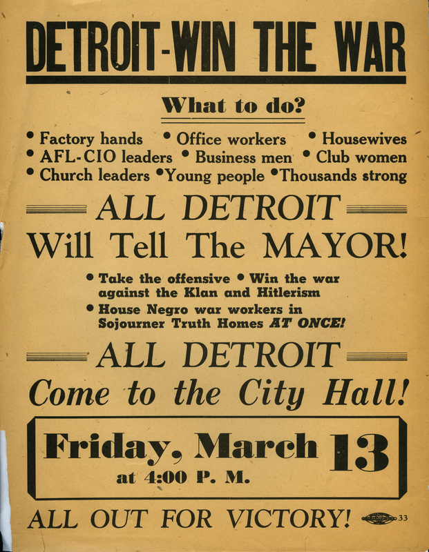 Flyer, Sojourner Truth Housing Project, rally announcement, 1942